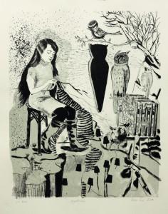 Rosa Loy, Vogelhaus, 2013, Lithografie