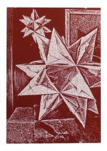Sten Gutglück, Papierstern, 2013, Blattmaß: 62x44cm, Grafikmaß: 60x42cm, Linolschnitt