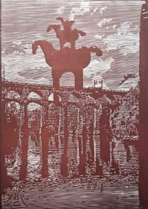 Sebastian Speckmann, Wache, 30 x 21,5 cm,Linolschnitt, 2015