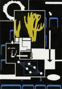 Benjamin Dittrich, Algen, 2013, 30 x 21 cm, Linolschnitt