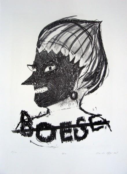 Claudia Rößger, Böse, 2008, 54x39cm Lithografie