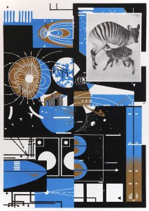 Benjamin Dittrich, o.T., 2013, 42x30cm Linocut