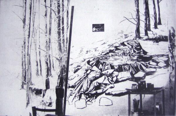 Sebastian Nebe, Atelier - Die Quelle, Polymergravure auf Buetten, 2010