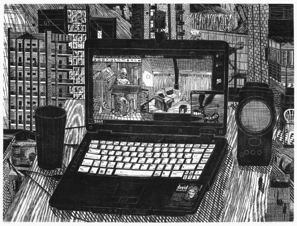 Gabriela Jolowicz, Laptop, 2010, Holzschnitt