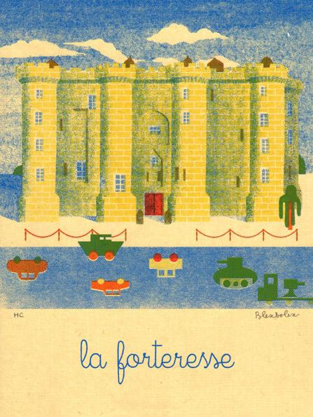Blexbolex, La forteresse, 2013, 26x35 cm, Siebdruck auf Reispapier, Auflage 20