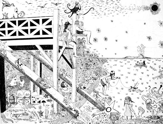 Moritz Schleime, Escape to Bahamas, 2004, Ätzradierung, 49 x 64 cm