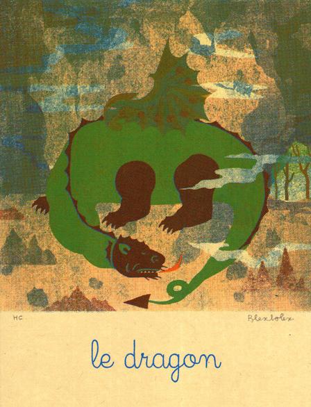 Blexbolex, Le dragon, 2013, 26x35 cm, Siebdruck auf Reispapier, Auflage 20