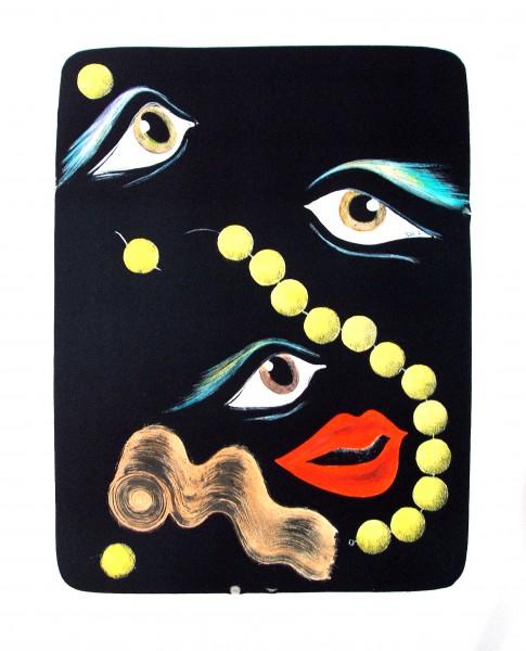 Corinne von Lebusa, Echo einer Nacht, 40x50cm, 2015, Lithografie, handkoloriert