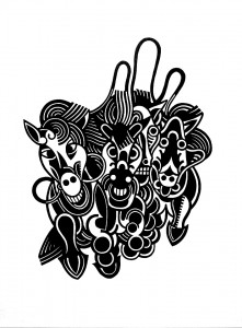 SG, untitled Apokalypse, 2015, 70x50cm, Linocut