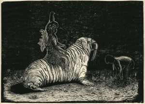 Fabian Lehnert, odous baino, 2014, Linolschnitt, 52,5 x 72,5 cm