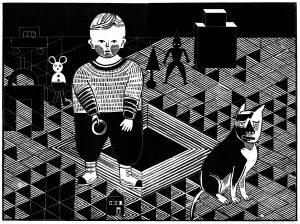 Katrin Stangl, Kind und Tier, 2012, Holzschnitt