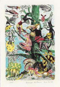 Rosa Loy, Vergnügen des Baumes, 2016, handkolorierte Lithografie