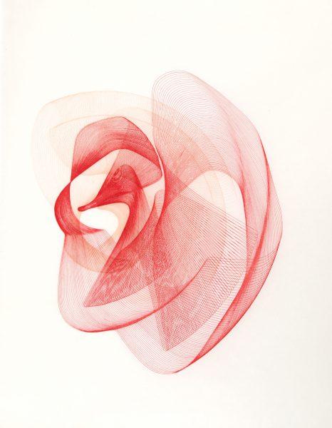 Maribel Mas, Zeitlinien rot 1, Fotopolymer