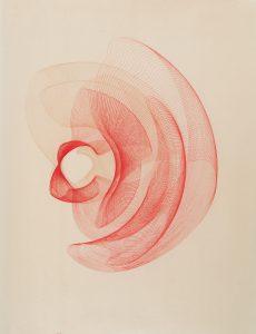 Maribel Mas, Zeitlinien rot 3, 2017, Fotopolymer