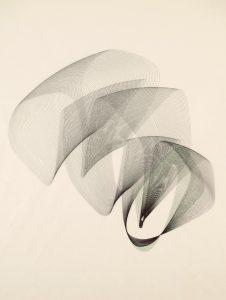 Maribel Mas, Zeitlinien Kilo 30, 2014, Holzschnitt und Federzeichnung