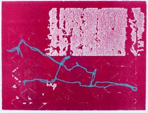 Thomas Siemon, 6 Gleisdreieck, 2015, Materialdruck/Holzschnitt