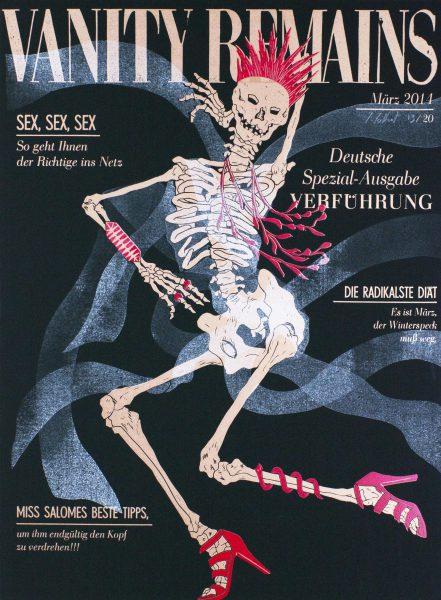 Julienne Jattiot, Vanity Remains März, 2014, Linolschnitt