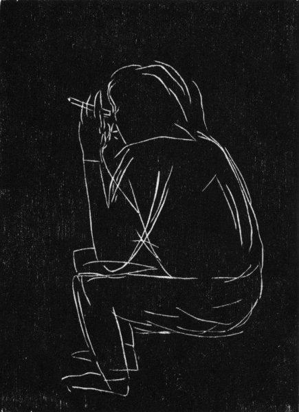 Gabriela Jolowicz, o.T.(Smoker), 2016, Holzschnitt, 11x16cm