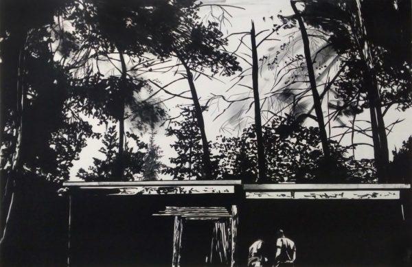 Sebastian Nebe, Sommerhaus (Bungalow), 2019, Lithografie