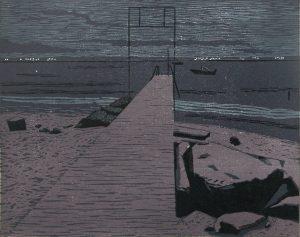 Christine Ebersbach, Abend am See, 2017, Farbholzschnitt, 30 x 38 cm
