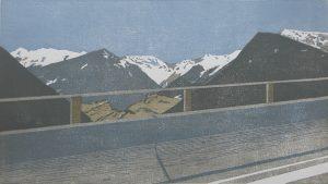 Christine Ebersbach, Alpenfahrt, 2017, Farbholzschnitt, 27 x 46 cm