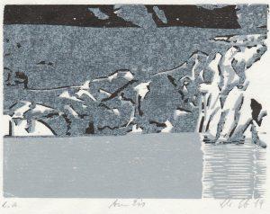 Christine Ebersbach, Am Eis, 2014, Farbholzschnitt, 10 x 13,5 cm