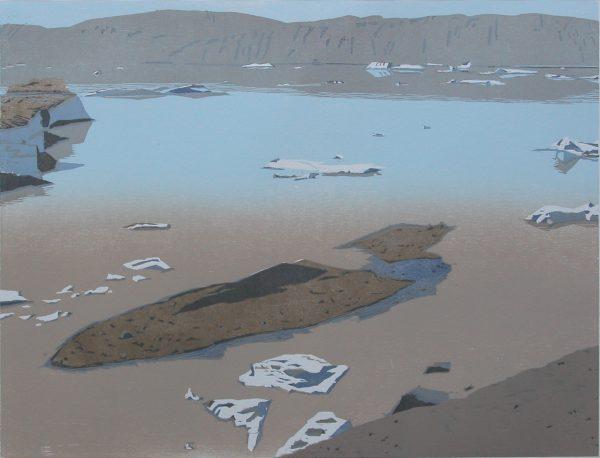 Christine Ebersbach, Am Gletscher, 2014, Farbholzschnitt, 45x59cm