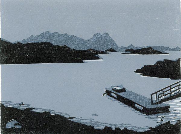 Christine Ebersbach, Bootssteg, 2010, Farbholzschnitt, 9,5 x 12 cm