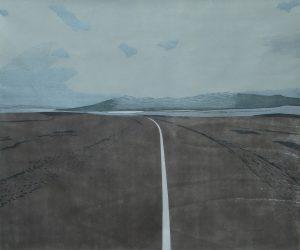 Christine Ebersbach, Hochlandstraße, Farbholzschnitt, 2015, 90x108 cm