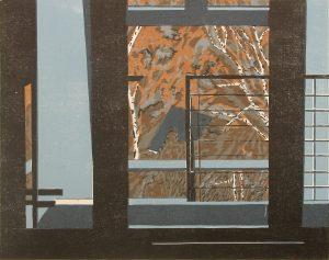 Christine Ebersbach, Waldstück, 2016, Farbholzschnitt, 40 x 50 cm