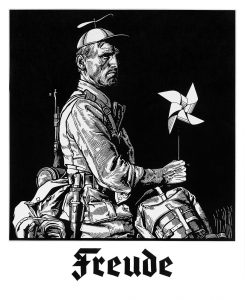 Freude, 2017, 51 x 50 cm, Linolschnitt
