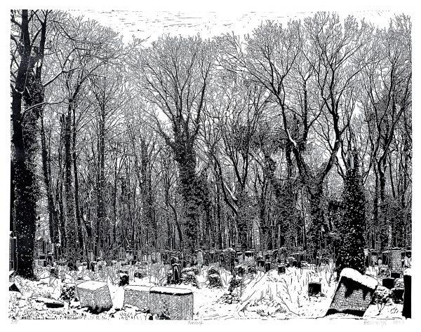 Philipp Hennevogl, Friedhof, 2007, Linolschnitt, 150 x 180 cm