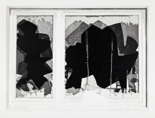 Philipp Hennevogl, Fenster, 2016, Linolschnitt, 56 x 74,2 cm
