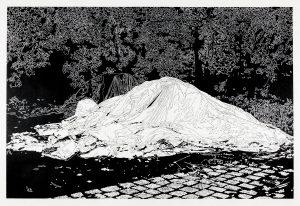 Philipp Hennevogl, Berg, 2017, Linolschnitt, 96 x 133 cm