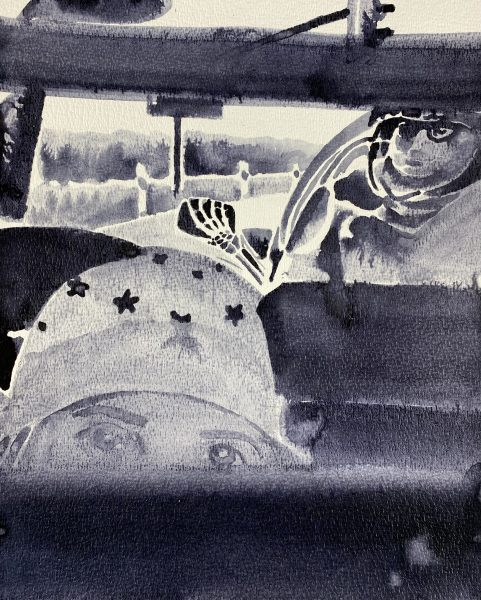 Sebastian Gögel, Backpiece, 2021, Tuschezeichnung