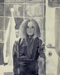 Sebastian Gögel, Fresh Hair, 2021, Tuschezeichnung