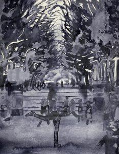 Sebastian Gögel, Abendrot, 2021, Tuschezeichnung