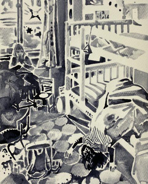 Sebastian Gögel, Lockdown, 2021, Tuschezeichnung