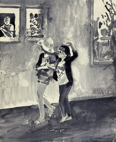 Sebastian Gögel, Vernissage, 2021, Tuschezeichnung