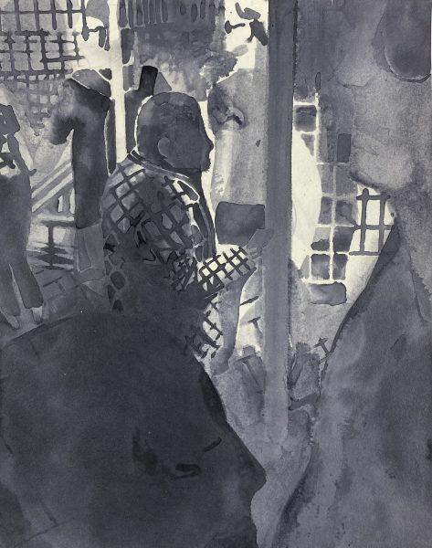 Sebastian Gögel, Hbf, 2021, Tuschezeichnung