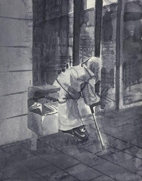 Sebastian Gögel, Eingang, 2021, Tuschezeichnung