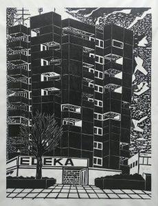 Gabriela Jolowicz, Hochhaus, 2021, Holzschnitt